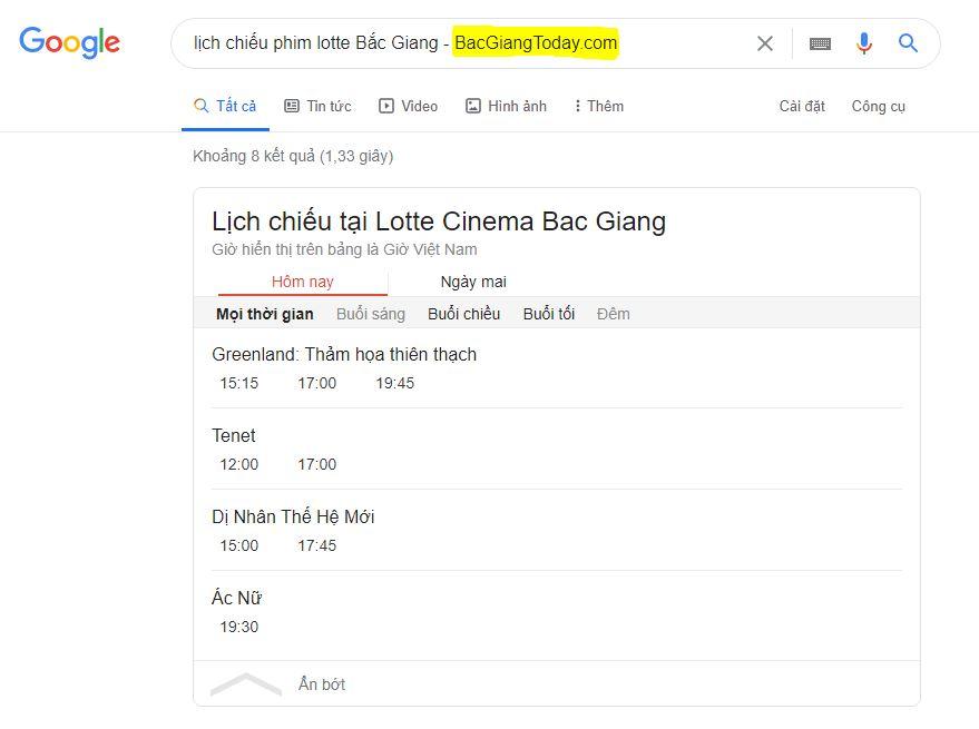 Xem lịch chiếu phim tại Big C Bắc Giang trên Google